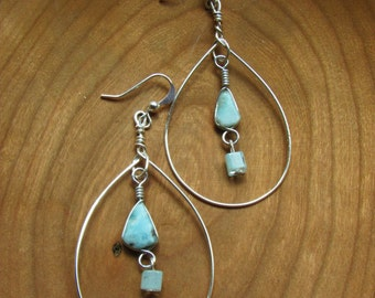 Blue Larimar Gemstone Dangle Hoop Earrings