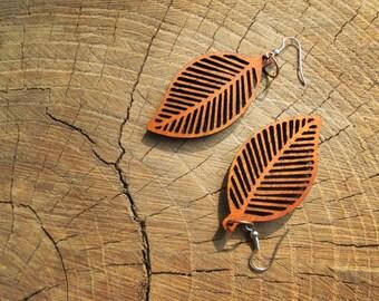 Leaf dangle earrings, Natural african wood, Eco-friendly jewelry #2