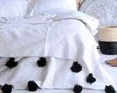 Reservd for Gail Moroccan pom pom blanket 9'8 x 6'6 ft - Berber blanket -