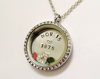 ANNIVERSARY DATE - Or other Special Date - Birthday Wedding - Floating Charm Locket - Memory Locket - Custom Stamped Gift