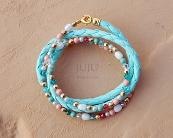 Crystal and leather wrap bracelet Mint pastel wrap bracelet Crystal wrap bracelet Summer wrap bracelet