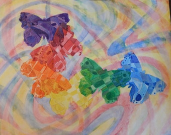Abstract Butterfly in Flight  Watercolor on Paper 22 x 28