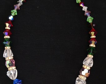 Vintage crystal colorful and rhinestone necklace