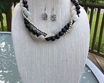 Black & Grey Twist Necklace Set