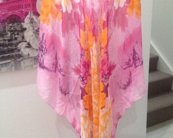 Stunning pink floral print caftan kaftan resort wear casual loose boho plus size top beach cover up chiffon batwing sleeves