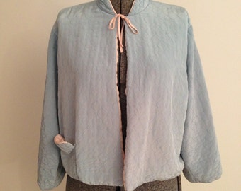 1960's blue quilted bed jacket - 1960s bed jacket 1960's sleepwear