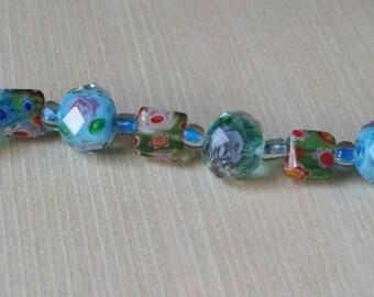 Sterling Silver Milifore and Lampwork Floral Bracelet