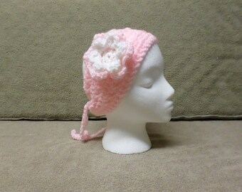 Pink and White  Crocheted Headband with Flower