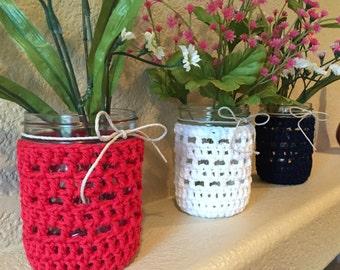 Crochet Wide Mouth Mason Jar Cozy SET of 3