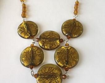 Golden Yellow Bib Necklace