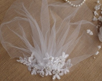 Veil Lace Pearls Birdcage Ivory Tulle Veil Vintage Style Petite Veil Mini Blusher Illusion Tulle Veil Style Petite Veil Mini Blusher