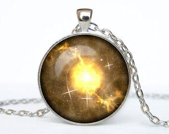 Gold nebula necklace Gold nebula pendant Galaxy jewelry Universe pendant