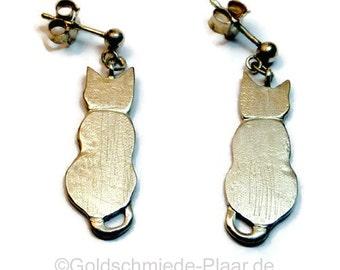 Cat earrings Silver 925 /-, cat drop earrings of silver