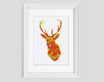 Stag cross stitch pattern, stag counted cross stitch pattern, stag modern cross stitch pattern, stag cross stitch pdf pattern