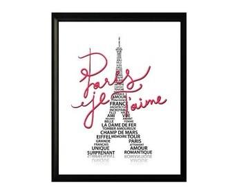 RED Eiffel Tower PARIS subway art - Paris Je Taime - Paris I Love You romantic french print 8X10 digital download only 1.00