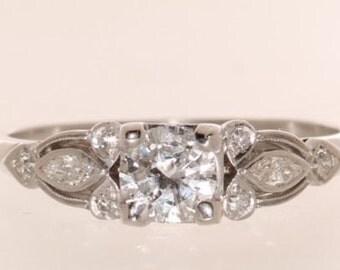 1920's Platinum .63ct Diamond Art Nouveau Engagement Ring Size 7.5   et69