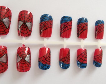 Marvel Spiderman False Fake Nails, Hand Painted, Reusable with glue