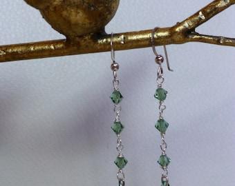 Elegant Green Crystal Dangle Drop Earrings