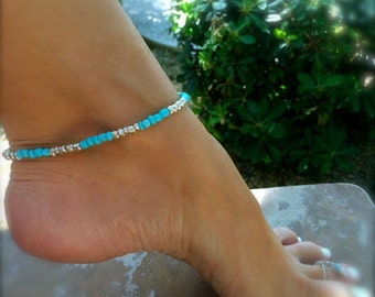 Turquoise Anklet Silver Beaded Anklet Stretch Ankle Bracelet Blue Bracelet Bridesmaid Gift Something Blue Gift Outdoors Gift Beach Lover