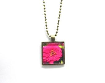 Pink Zinnia Pendant Necklace