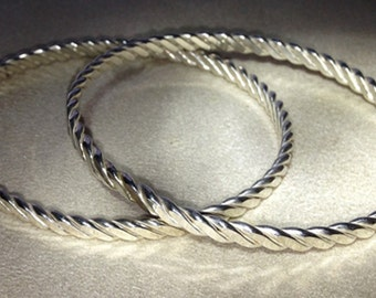 Sterling Silver Three Wire Twist Bangle