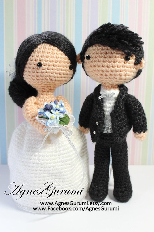 Crochet Wedding Amigurumi Patterns : Amigurumi Crochet Wedding Couple White Gown Black by ...