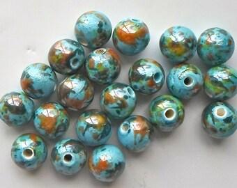 20 X Stunning Handmade Colourful Ocean Spray Blue Porcelain Ceramic Beads 12mm