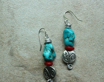 Turquoise howlite and red coral wire wrapped dangle earrings