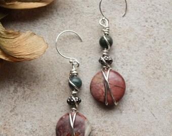 Red Creek jasper wire wrapped earrings