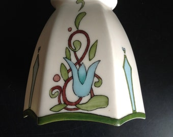 Art Deco Arts And Crafts Hand Painted Bisque China Lamp Shade
