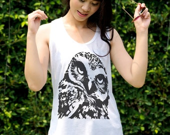 Owl Tank Top T Shirt Cute Owl Clothing Animal Print Shirt Teenager Gifts Boho Tunic Top