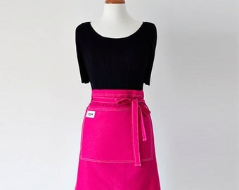 Hostess Apron - Women's Apron - Half Apron - Pink Apron - Front Pockets