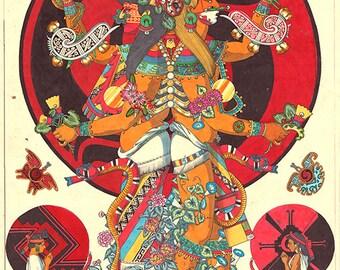 Xochiquetzal and Xochipilli - Fine Art Print - Mexica Spirituality - Xochiquetzal and Xochipilli