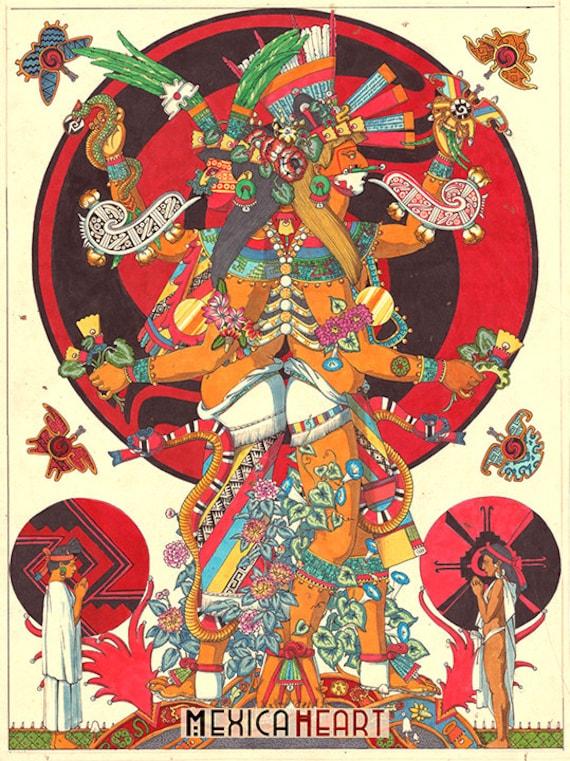 Xochiquetzal and Xochipilli Fine Art Print Mexica