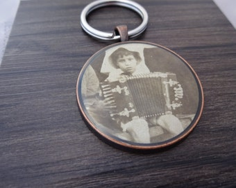 Vintage photo Keychain - Antique key chain of Boy playing accordion - music musician instrument