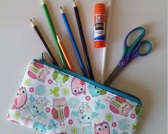 Owl Pencil Pouch, Owl Pencil Case, Pencil Pouch, Pencil Case