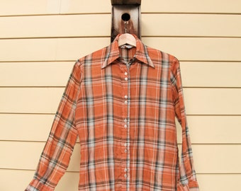 """Vintage Plaid Button Up/Wedgewood Button Up/Orange Plaid Shirt/Size 36/24""""Long/Double Pearl Buttons/*FREE GIFT WRAP*"""