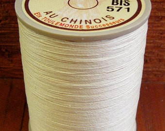 Fil Au Chinois, 532 Size, Ecru/Bis, Lin Cable/Lin Câblé. Waxed Linen Thread For Leatherwork And More.