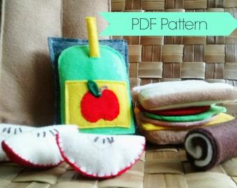Felt Food Pattern -- PDF Felt Food Lunch Sack Set -- School Lunch