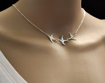 THREE SPARROWS Silver Necklace  Silver Bird Silver Sparrow Dainty Necklace