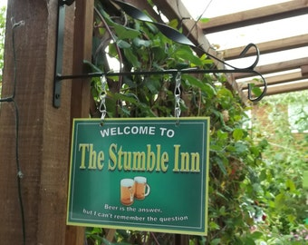 Personalised Hanging Pub sign, Home Bar, homebrew, Man Cave - Free Postage