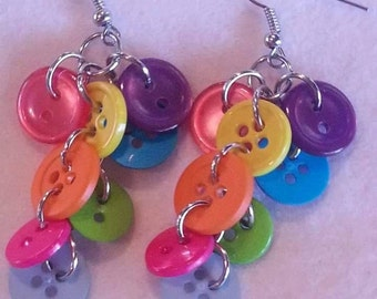 Colorful button dangle earrings