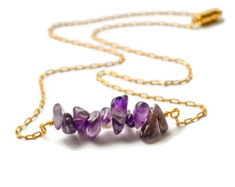 Amethyst Bar Necklace, Gold Amethyst Necklace, Amethyst Layering Necklace, Purple Amethyst Necklace