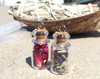 Michigan Herb Vial Pendant Necklace. Rose Petals, Lavender, or Spearmint.