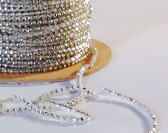 Silver Lined Glass Beads, cross-locked strung, 2mm, 72 yards per spool.