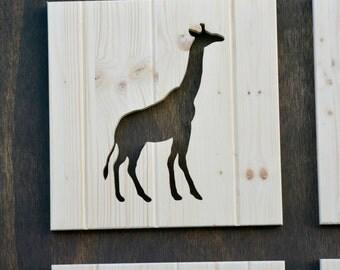 "Giraffe Wood Silhouette Safari Animal Cutout 13"""