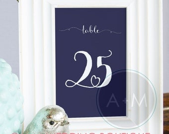 Printable Wedding Numbers, Reception Table, Table Numbers, Wedding Table Numbers, Instant Printable, Instant Download: WHIMSY Navy
