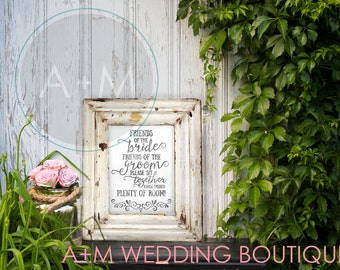 Wedding Sign Instant Printable Friend of the Bride, friends of the groom  -Black Ink on White WeddingSignage INSTANT DOWNLOAD