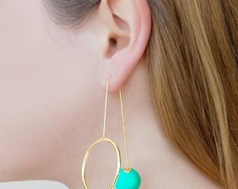Gold Dangle Earrings, Green Earrings, Drop Earrings, Gold Circle Earrings, Long Earrings, Ball Earrings, Statement Earrings, Gold Jewelry