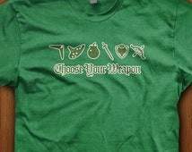Video Game Shirt Choose Your Weapon T-Shirt Zelda Shirt Geek Gift Ideas For Him Nerd Gaming Link Skyrim Dungeon Battle Elf Sword Bomb Shield